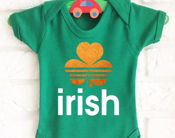 Baby's Green Irish adidas style baby grow bodysuit vest with shamrock.