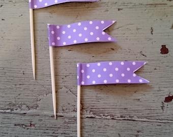 Purple Polka Dot Cupcake Toothpick Flags. Purple Cupcake Decorations.  Flag Toothpicks. Cupcake Toppers