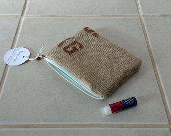 "4"" by 6"" Burlap Zipper Pouch - upcycled coffee bean sack - handmade in michigan - fabric zipper pouch - coin purse - cosmetic bag"