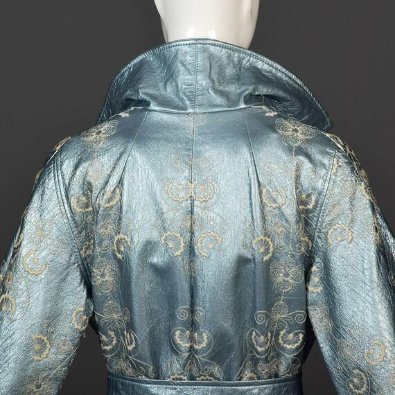 Swing Coat Vintage Coat Ann 60s Trench 1960s Medium Metallic Blue Embroidered Lilli HvwYA4q0