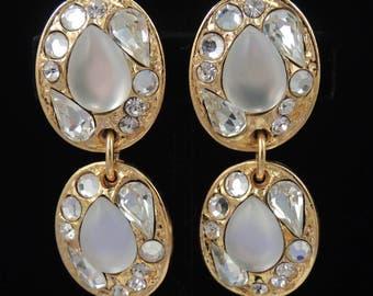SHADOW PARIS Pearl Rhinestone Earrings / Vintage Shadow Paris Drop Earrings / Shadow Paris Bridal Earrings / A Place of Distinction