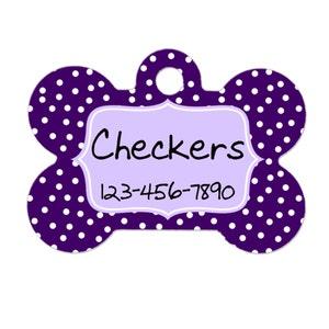 Personalized Dog Tag - Dog ID Tag - Purple Dots Personalized Bone Dog Tag - Custom Pet ID Tag