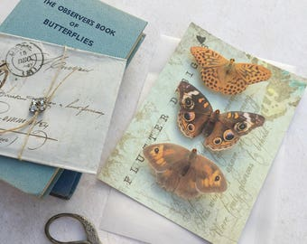 Beautiful silk butterfly hair clips with Swarovski Crystals. Set of three Browns.