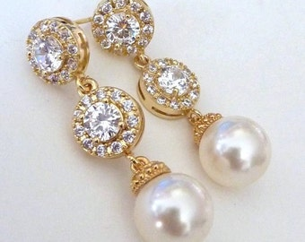 Wedding Earrings Bridal Earrings Cream Ivory Round Pearl with Yellow Gold CZ and Yellow Gold Round Cubic Zirocnia Post Earrings
