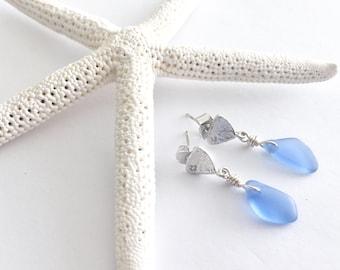 Cornflower blue sea glass earrings, sea glass post earrings