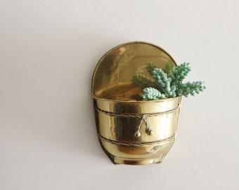 hanging brass planter - hollywood regency - midcentury modern - indoor planter