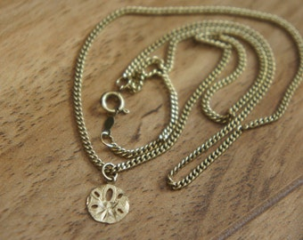 Vintage  Jewelry  Necklace Chain 14 K GF gold filled + Pendant  Disk 3/8'' solid gold 14k  W-090