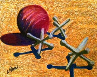 Oil Pastel Art, jacks,ball silver dirt original shadow 11 in x 14 in, unframed