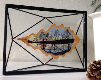 Yellow Birches | Leaf Art | Leaf Painting | Sunset | Northern Art | Canadian |