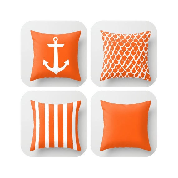 Orange Throw Pillow . Mermaid Pillow . Anchor Pillow . Coastal Pillow . Striped Pillow . Orange cushion . Throw Pillow 14 16 18 20 inch
