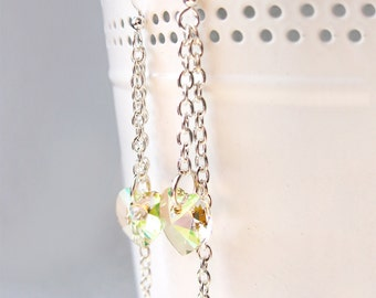 Crystal Dangle Earrings, Green Shade Heart Swarovski Element , Bridal earrings, Crystal earrings, Bridesmaids gift, Champagne earrings