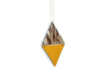 Triangle Long Necklace | Leather | Silver | Boho | Triangle jewelry | Cow Yellow | No clasp | Chic | Geometric | Womans gift |