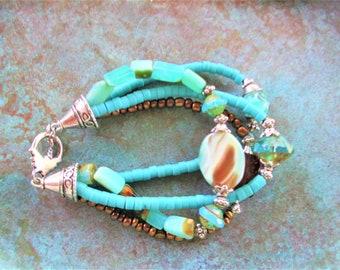 Peruvian Blue Opal bracelet, Turquoise bracelet, Aqua Picasso bracelet, bohemian, southwest bracelet, boho southwest Turquoise bracelet