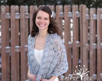 Bridal Shawl - Gray Bridal Shrug - Grey Crochet Bridal Shawl - Grey Rectangular Shawl - Grey Crochet Scarf