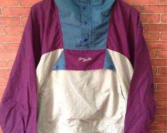 MEGA SALE !! Taras Boulba Multicolour Windbreaker Jacket With Hoodies Pull Over Snap Button Rare Design Medium Size Sportwear Brand