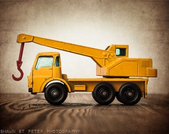 Vintage Toy Tractor Crane , One Photo Print, Boys Room decor, Construction Vehicle, Boys Nursery Ideas