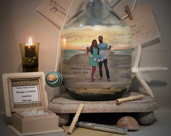 Unique Personalized Guestbook, Messages In A Bottle Guestbook, Hand Painted Bottle With Your Photo, Decor, Bridal Shower Well Wishes Bottle