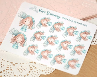 Kawaii Girl Cleaning Day Decorative Stickers ~ Vera ~ For your Life Planner, Diary, Journal, Scrapbook...