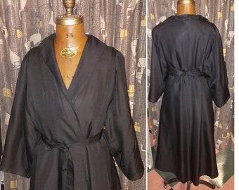 Vintage 1960's Satin Boudoir 60's Lilli Diamond Wrap Around Black Satin Glam Womens Evening Coat - L