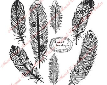 Feather Svg, Feathers Svg, Feather Clipart, Black Feathers, Feather silhouette, Feather Clip Art, Feather Digital, Feather Svg File