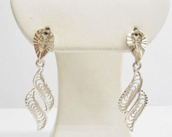 Gold Earrings, Dangle Earrings, Vintage Earrings, Vintage 14K White Gold Filigree Open Work Design Dangle Drop Earrings #3472
