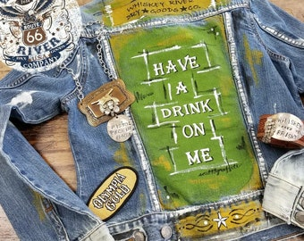 Have a Drink on Me Denim Jean Jacket size Small Hand Painted
