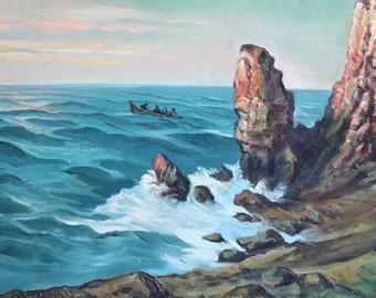 Antique seascape marine oil painting impressionism