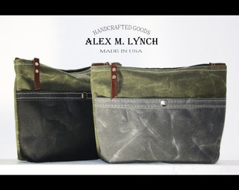 waxed canvas Dopp kit shaving bag toiletry bag with front pocket - cosmetic bag - travel bag - unisex