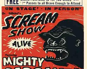 "Vintage Style Circus Freakshow poster 16x20 carnival art print banner  ""Mighty Gargantua"""