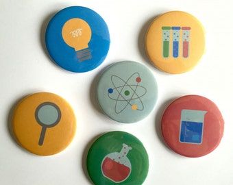 Science Badges. Space. Experiments. Atomic. Party Bag Fillers.