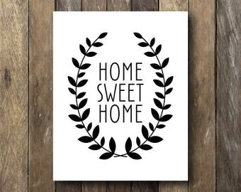 Black and White Printable Art - Home Sweet Home Instant Download