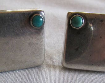 Sterling Silver and Turquoise Screw Back Earrings