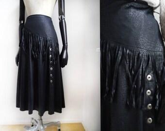 80s fringe SKIRT black beauty mid length side buttons up rock biker goth skirt retro fashion