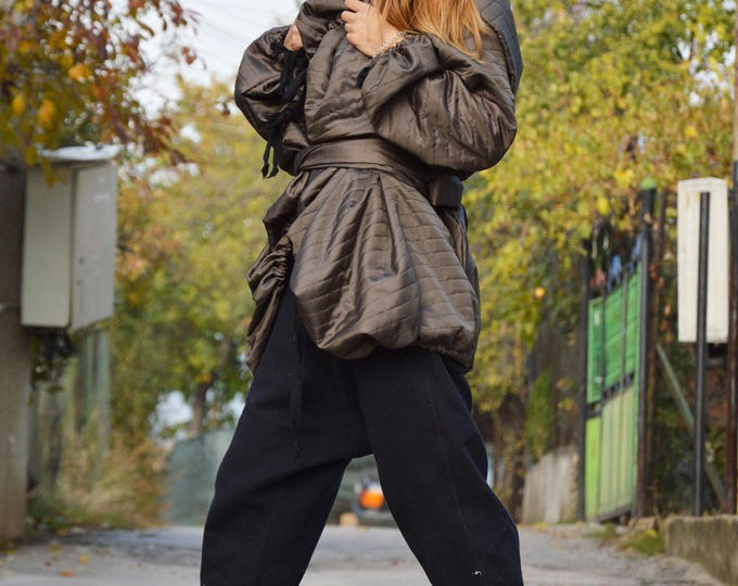 Winter Extravagant Military Coat, Everyday Asymmetrical Quilted Coat, Plus Size sleeves Jacket by SSDfashion