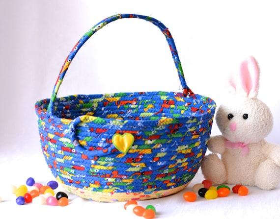 Boy Easter Basket, Handmade Easter Bucket, Crayon Basket, Boy Room Toy Organizer, Stuffed Animal Bed Bin, Lego Storage Bin