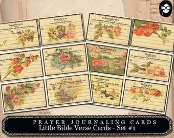 Prayer Journaling - Little Bible Verse Cards #1 - 2  Page Instant Download - scripture art, bible journaling kit, printable verses