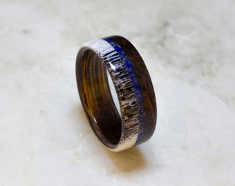 Bentwood Ring Handcrafted In Kao wood with  Lapis Lazuli  Inlay  and Elk antler liner //Wooden Jewelry//wood ring for men or women