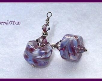 Mottled Purple Lampwork Dangle Earrings,Barrel Earrings,Unique Earrings - BARREL O FUN