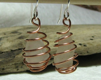 Genuine Recycled Sea Glass Earrings Mixed Metal Copper and Sterling Silver