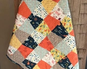 Not So Wild West Baby/ Toddler Tumbler Quilt- Route 66, Cows, Boots, Cactus- READY TO SHIP