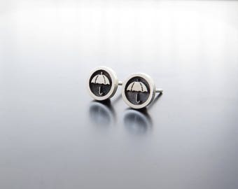 silver earrings studs, umbrella earring posts, umbrella studs, ear studs, solid silver earrings, Round Circle Studs, Umbrella Earrings