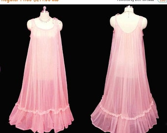 20% off Memorial Day Sale Vintage Texsheen Lingerie Grand Sweep Sheer Double Nylon Lace Flounce Nightgown Mai Tai Pink nightgown 60s nightgo