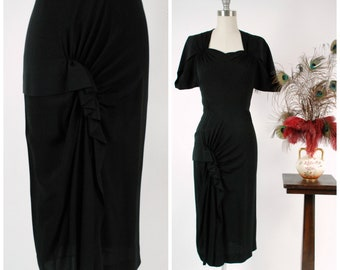 RESERVED ON LAYAWAY Vintage 1940s Dress - Rare Exquisite Dorothy O'Hara 40s Cocktail Dress with Fantastic Skirt from Incredible Collection