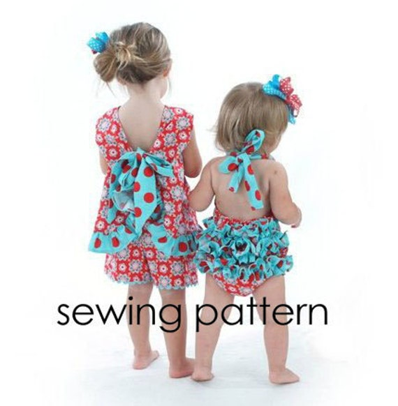 Ruffled Pinafore Pattern - Easy Girls Sewing Tutorial, PDF, Baby to ...