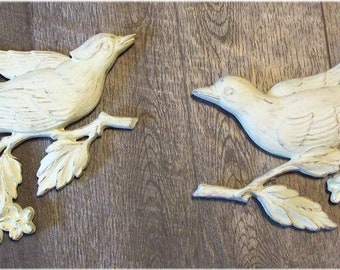 Shabby Chic Birds Set Of 2 Wall Hangings Victorian Romantic French Country Cottage Home Decor