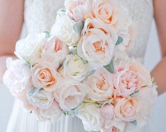 Custom Peony Rose Silk Flower Bouquet, Bridesmaids Bouquet, Peach Blush Real Touch Artificial Bouquet, Bridal Bouquet, Faux Bouquet, Vintage