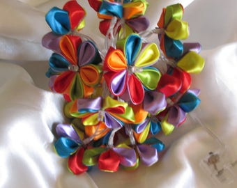 Wreath led light creation made entirely by hand 20 flowers in satin ribbon