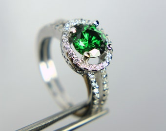 Elegant Emerald Green CZ in a Dazzling  Accented Sterling Silver Setting