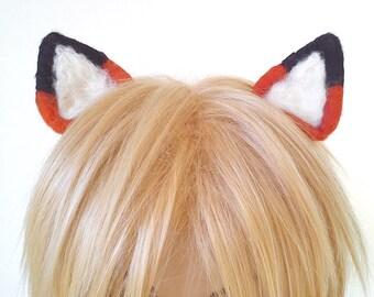 Hair Accessory Fox Hair Clip Ears for Cosplay fancy dress boy hair girl hair deep orange rust red