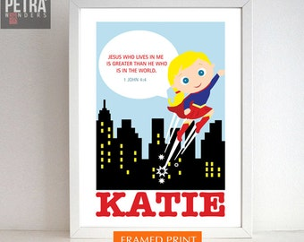 Girls room print. Super girl, Super hero bible verse wall decor. Scripture Art -1 JOHN 4:4.